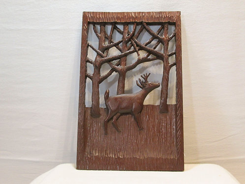 Folk Art Carved Deer Plaque