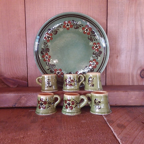 Painted French Pottery Cordial Set w/ Plate