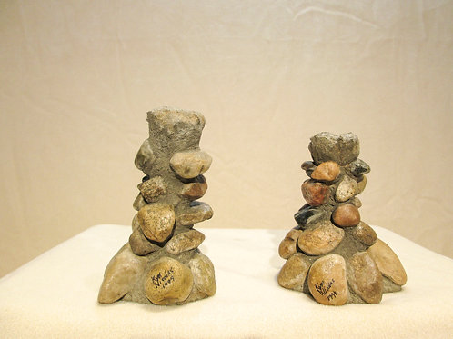 River Stone Candlesticks