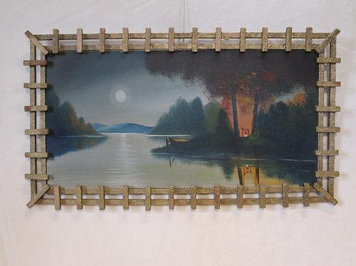 Camp Scene in Folk Art Frame
