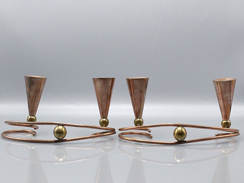 Mid-Century Copper Candle Holders