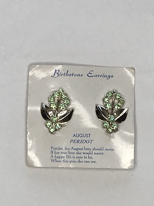 Vintage Birthstone Earrings - August Peridot