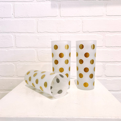 Mid Century Frosted Polka Dot Glasses