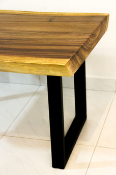 Suar coffee table with steel legs