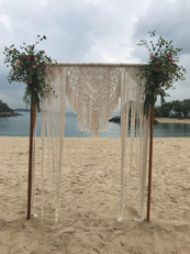 Macrame frame for a wedding.