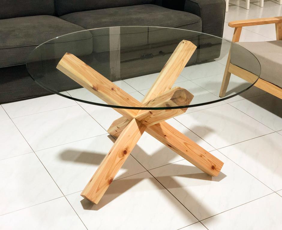 Custom chidori coffee table, cedar and glass