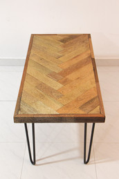 Herringbone coffee table with hairpin legs