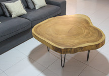 Suar crosscut coffee table with hairpin legs