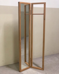 Standing mirror, solid white oak