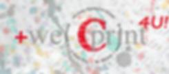 Schriften laufen ineinander, darüber Farbspritzer in grau und türkis, im Vordergrund das Logo we print