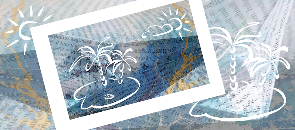 gefalltetes Papierschiff mit blauen Farbspritzern darüber gezeichnete Insel mit Palmen in weiß.