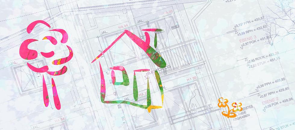 Bauplan, darauf Farbspritzer in rot und gelb darüber ein gezeichnetes weisses Haus mit Baum