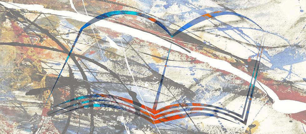 Broschüre, darauf Farbspritzer, in türkis und blau darüber eine gezeichneter stilisierte Broschüre in Weiß/Farbe