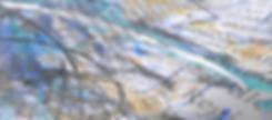 Broschüre, darauf Farbspritzer, in türkis und blau