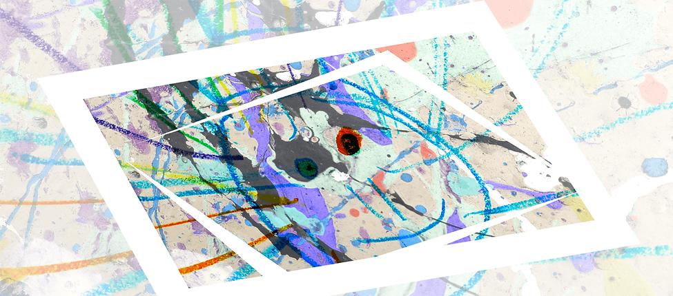 graue Fläche mit Farbspritzern in lila und türkis darüber eine blaue Sonne, Kinderzeichnung