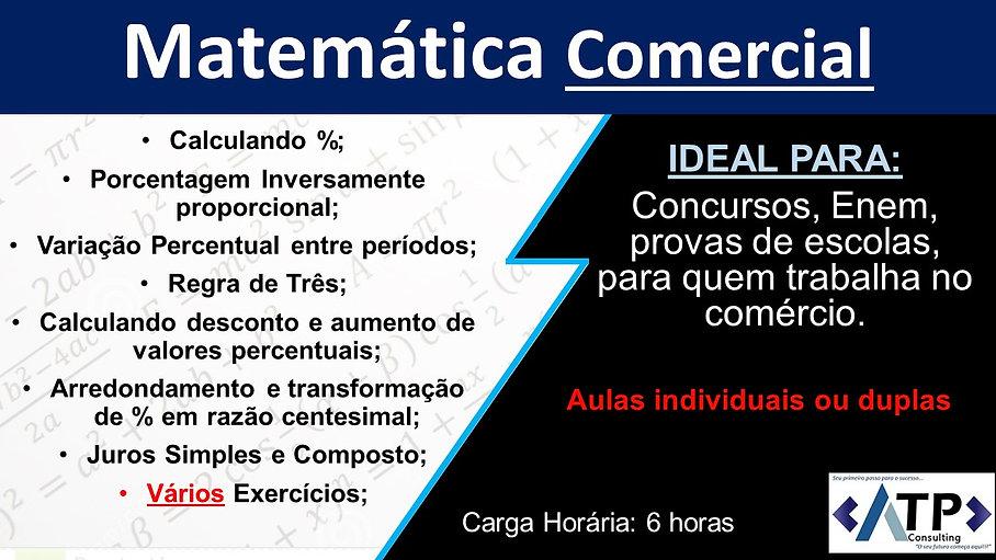 Matemática comercial; Aula de reforço de matemática