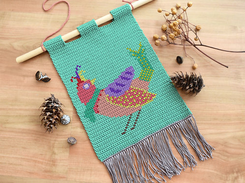 Cheerful Dove tapestry / Tapestry crochet PDF instant download