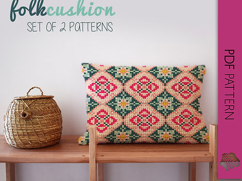 Folk cushion set / Tapestry crochet PDF instant download