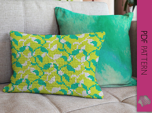 Enramada vine cushion in 2 colorways / Tapestry crochet PDF instant download