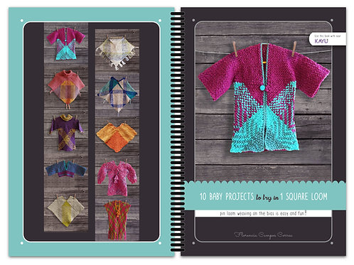 10 Baby Projects to try with one pin loom square book / shipping costs included!