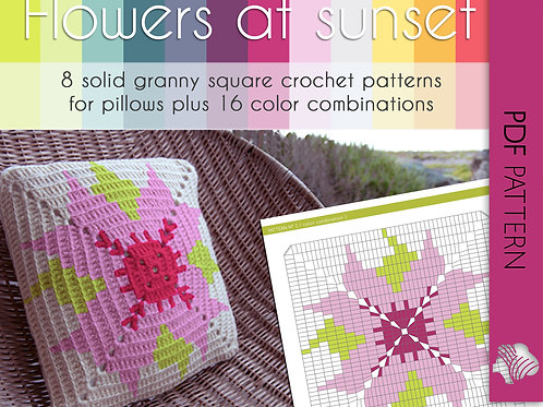 Flowers at Sunset / Crochet PDF instant download