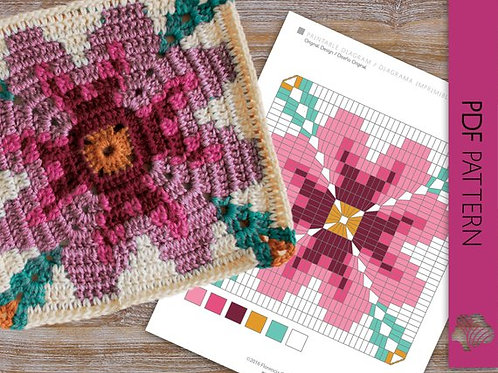 Happy spring floral / Crochet PDF instant download