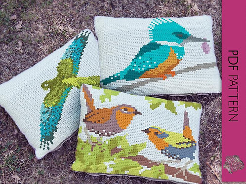 Three Birds 3 cushion set / Tapestry crochet PDF instant download