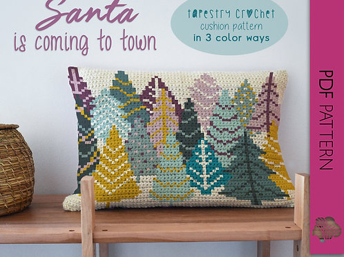 Santa is coming to town in 3 colorways / Tapestry crochet PDF instant download