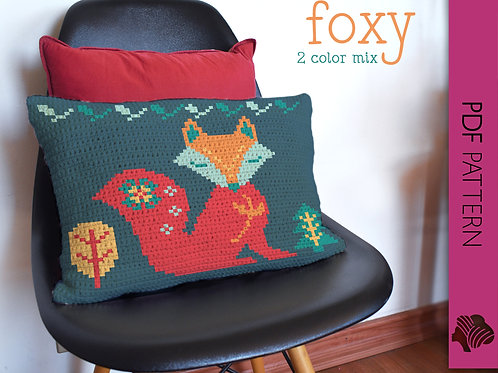 Foxy cushion 2 colorways / Tapestry crochet PDF instant download