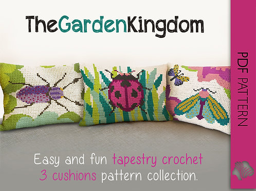 The Garden Kingdom 3 cushion set / Tapestry crochet PDF instant download