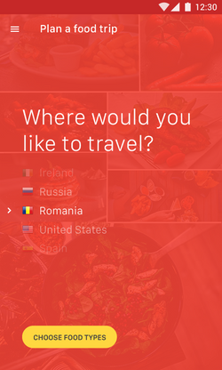 Plan a food trip-Screen 1-Country