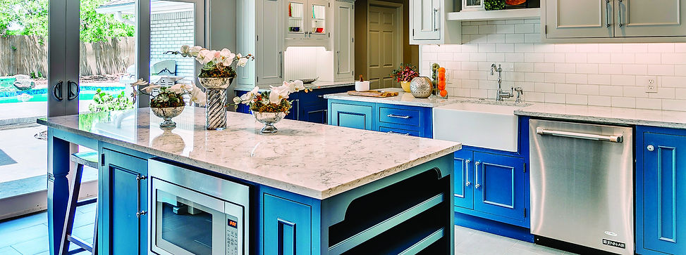 Transitional Style Kitchen with White and Blue Custom Cabinetry