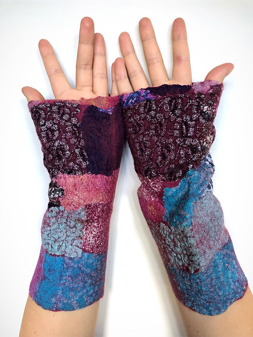 Felt Fingerless Gloves - Large