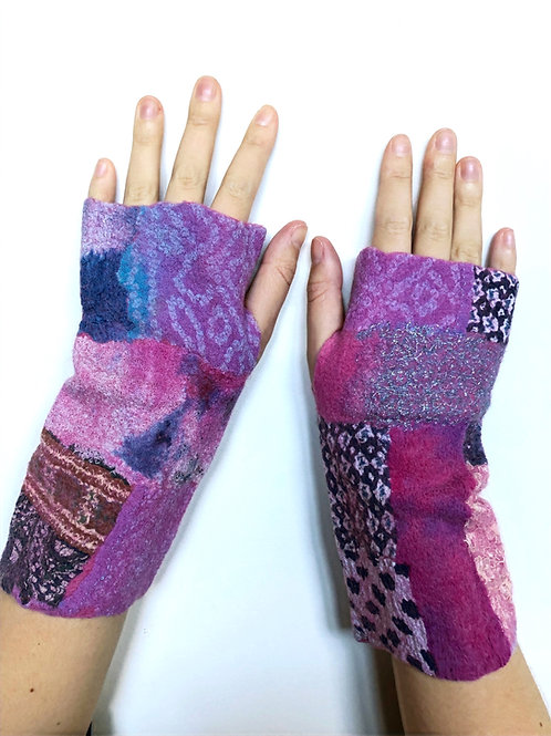 Felt Fingerless Gloves  - Medium