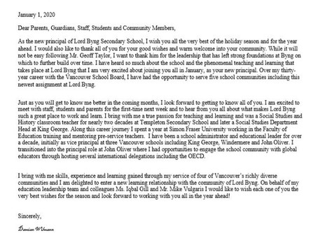 Letter from New Principal Damian Wilmann (January 1 2020)