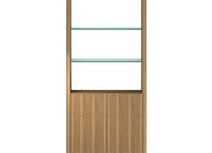 Linea 5802 Expandable Modern Bookcase with Glass Shelves