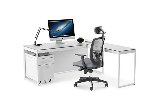 Centro 6401 Modern White Home Office Desk