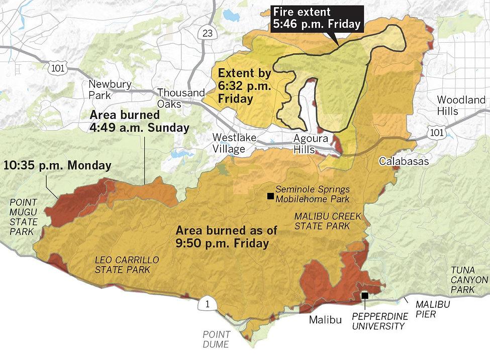 Woolsey Fire Progression Map