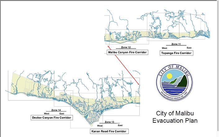 City of Malibu Evacuation Corridors by Z