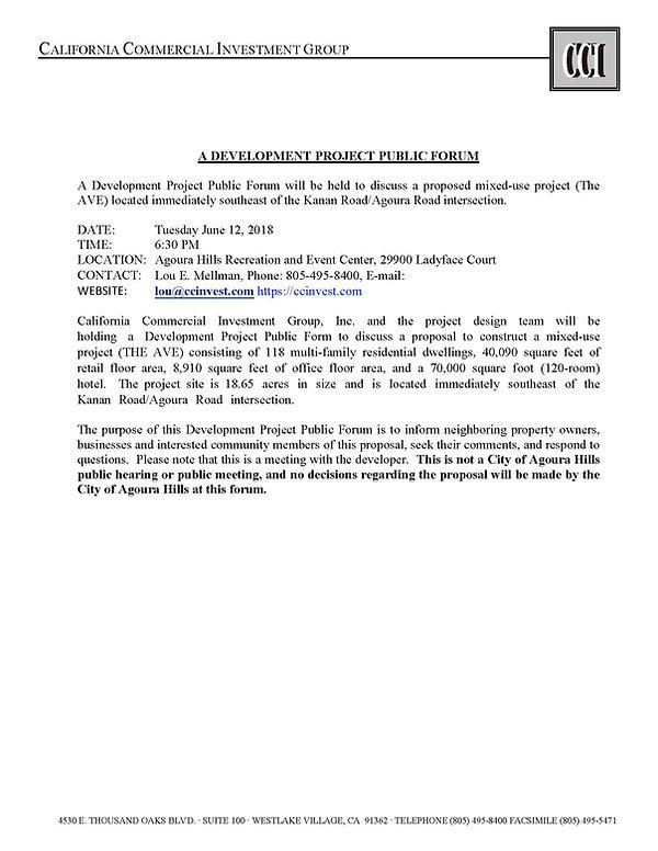 Development Project Public Forum Notice