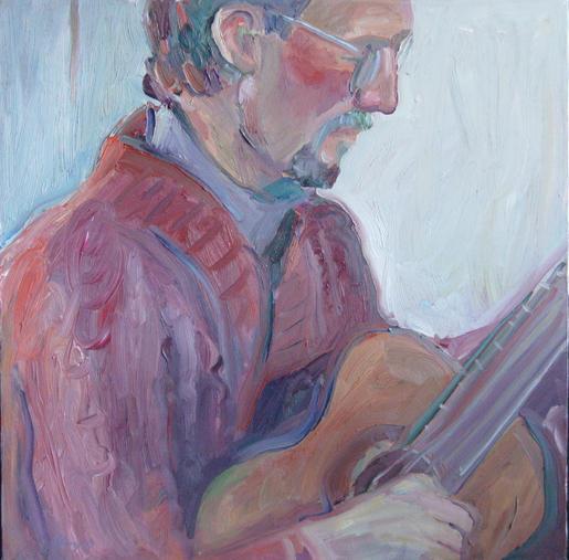 Steve with guitar 24x24