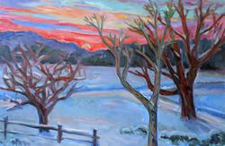 Winter Sunset 2015 24x36 oil