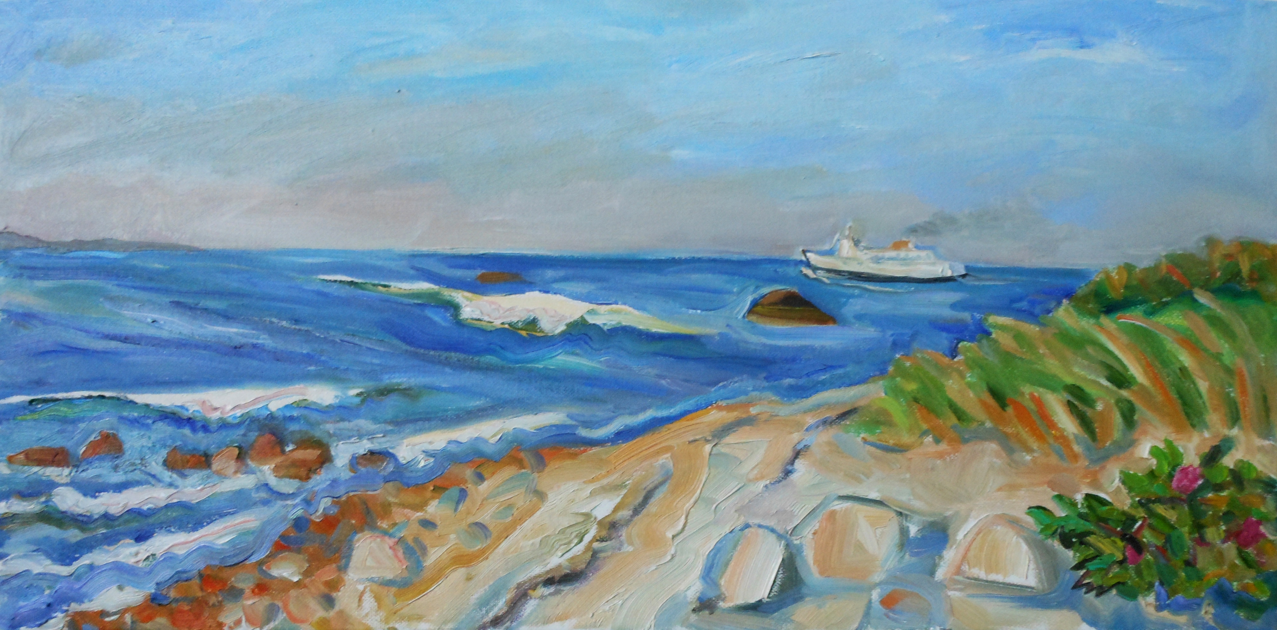 North Point Ferry Leaving 12x24