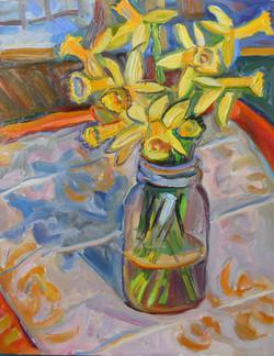 Daffodils in Ball Jar 16x20