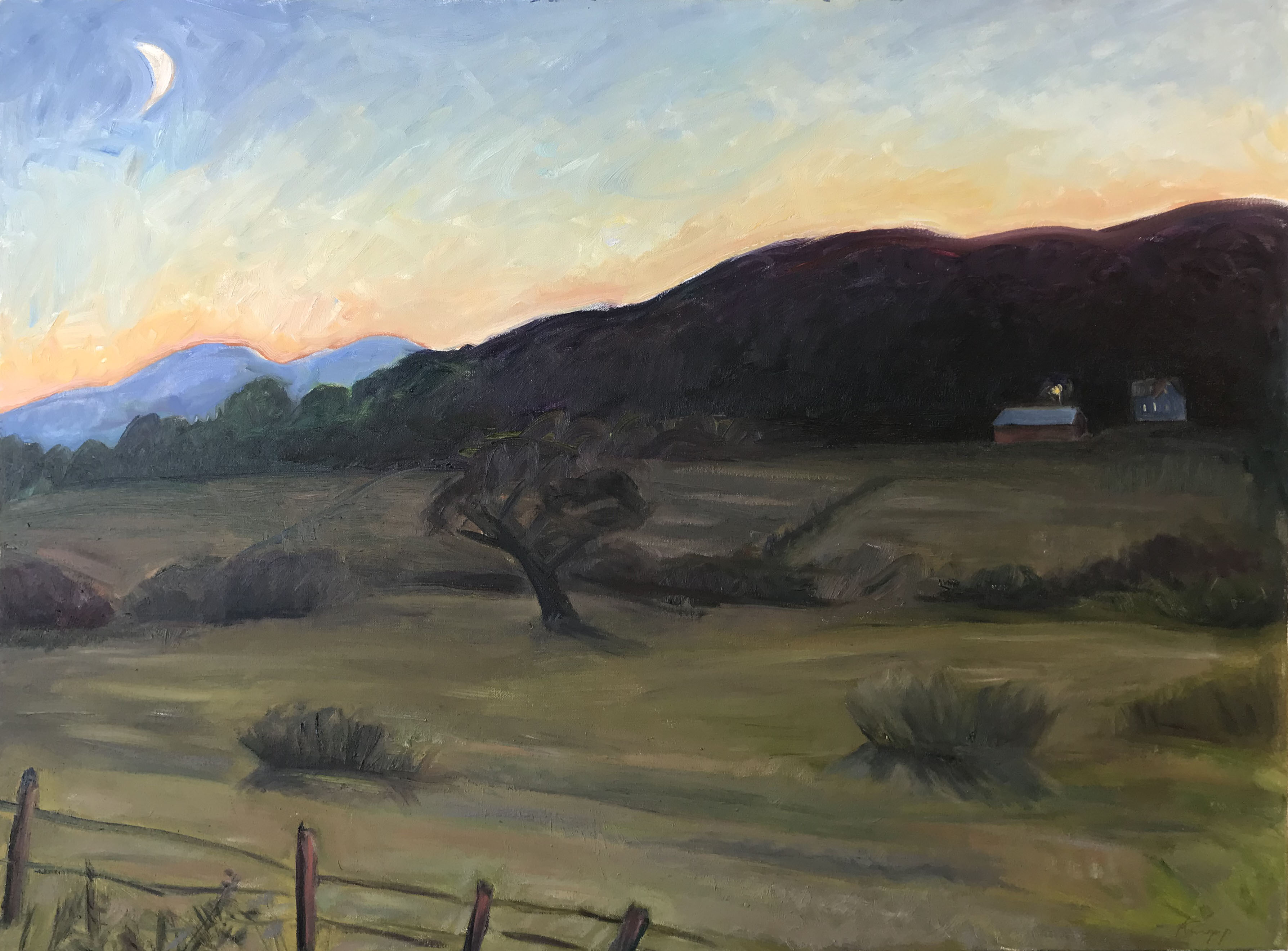 Alford Valley Dusk with New Moon