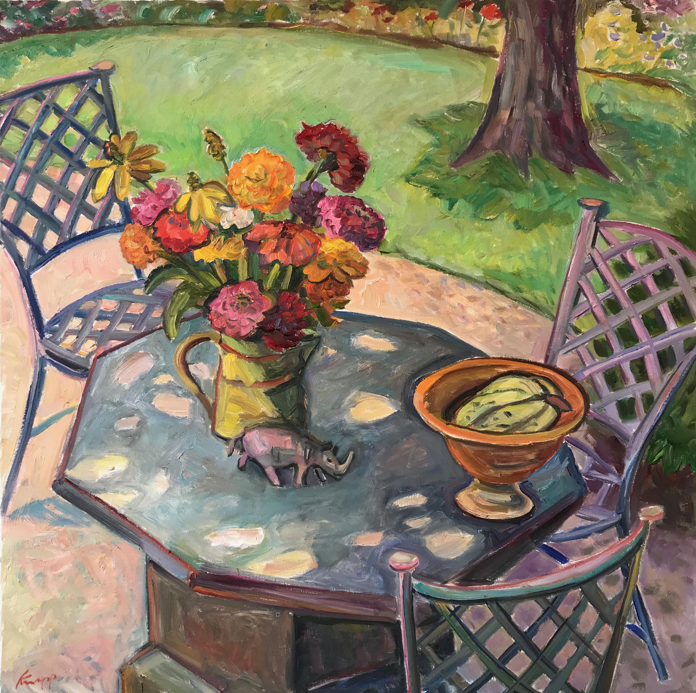 Rhinocerous on Table in Garden 36