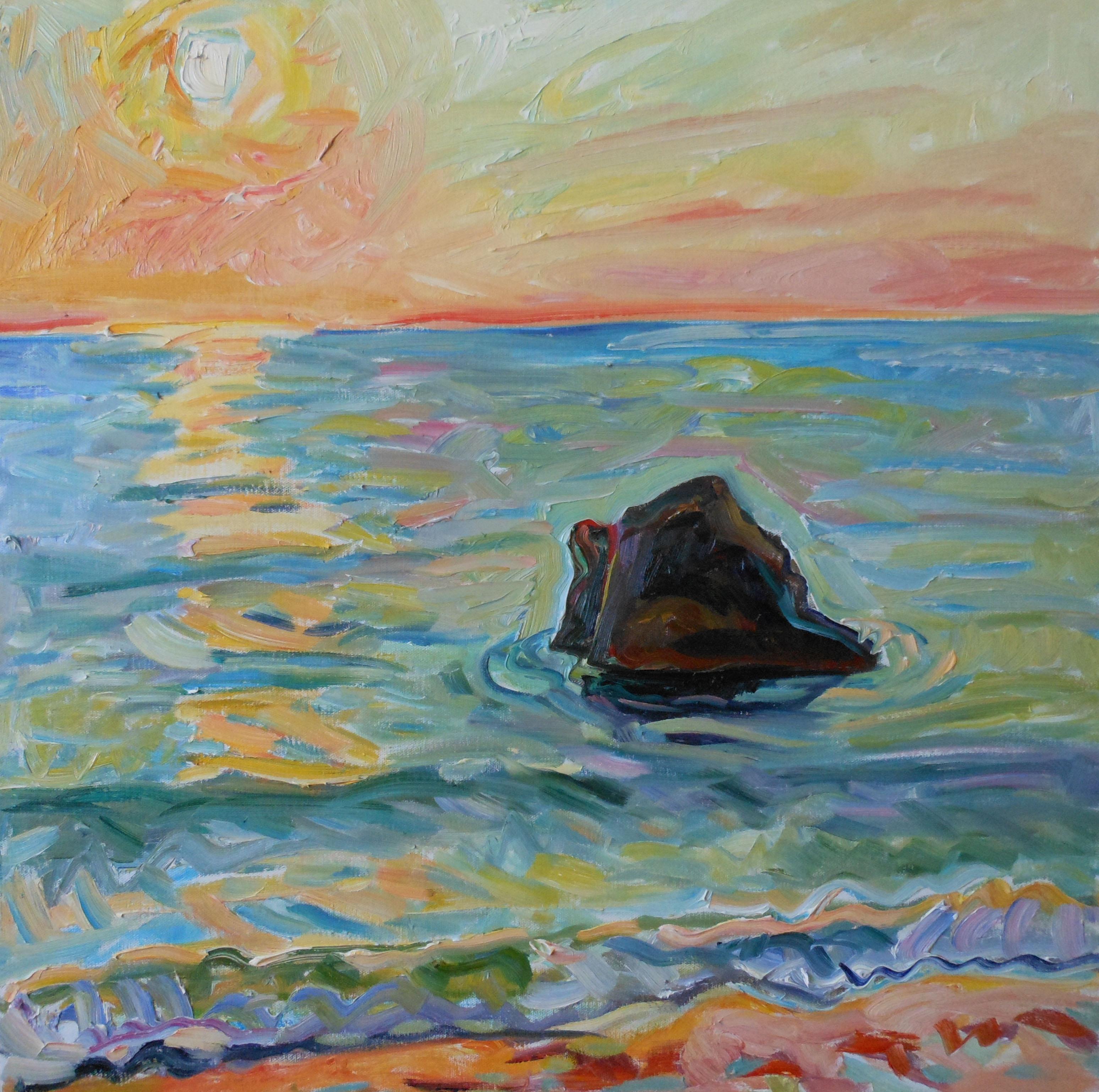 Dories Rock Sunset 24x24