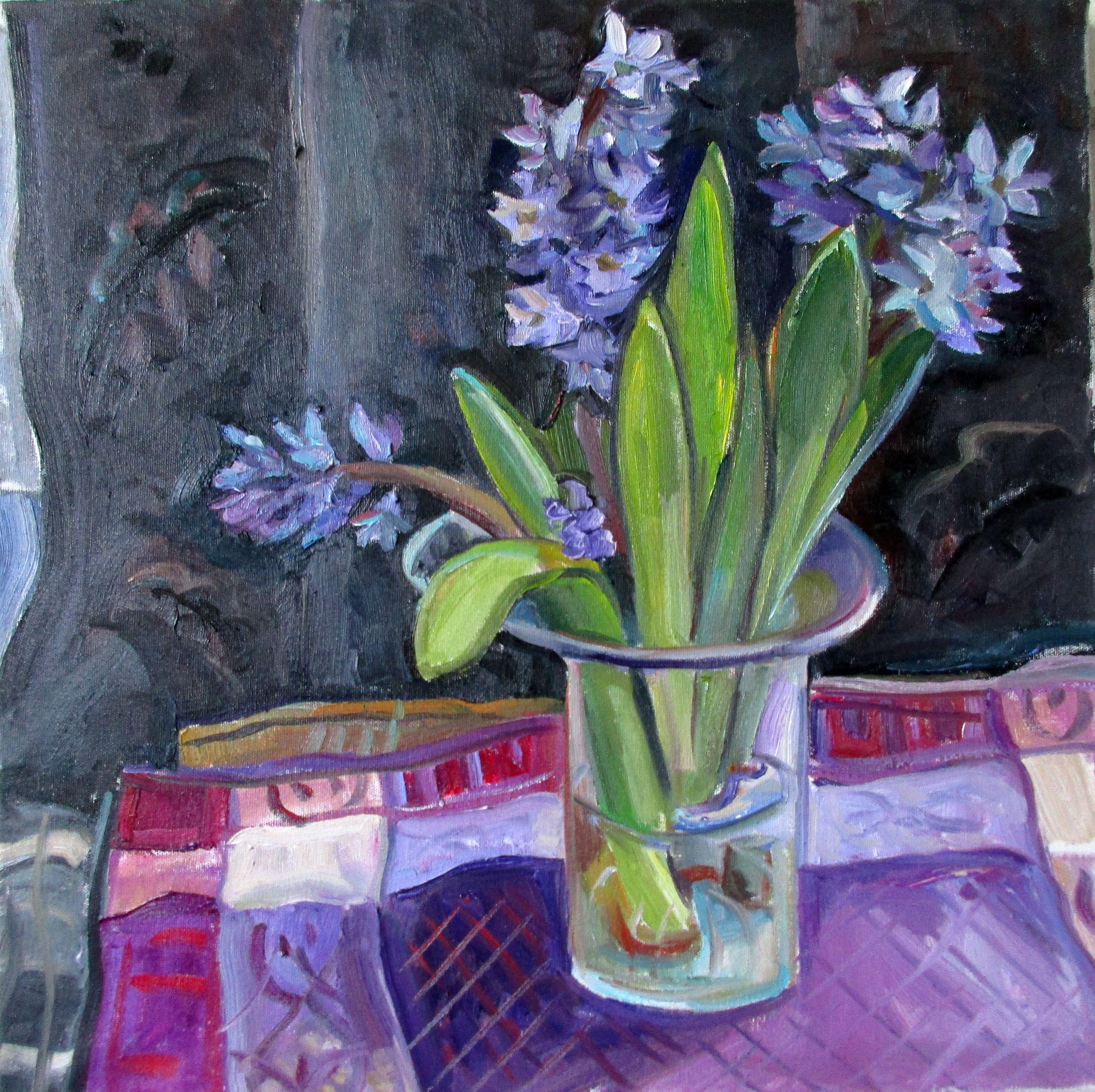 Hyacinth Glass Vase Black Backgro