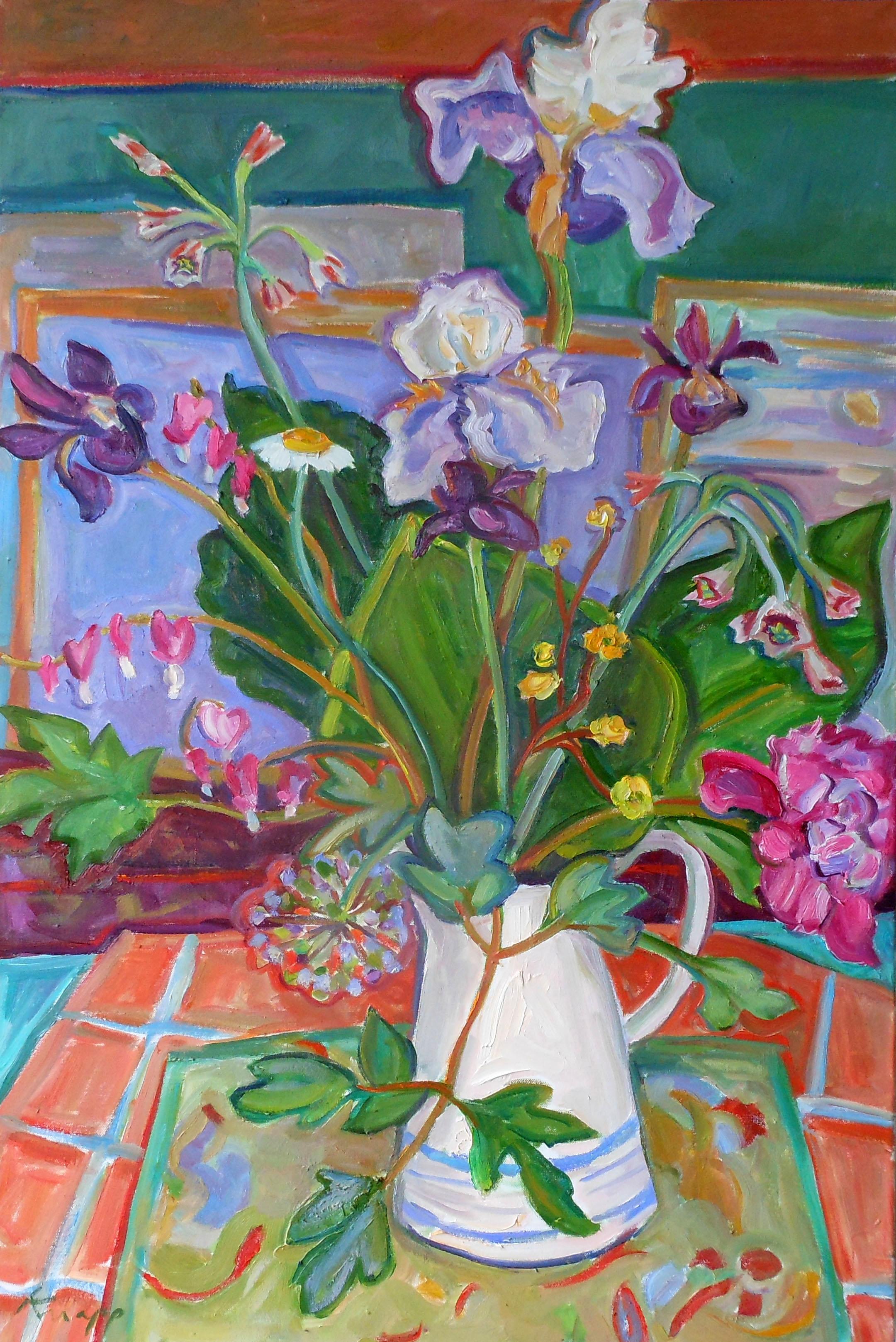 Summer Bouquet White Vase Blue St