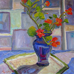 Nasturtiums in Blue Glass Vase 20